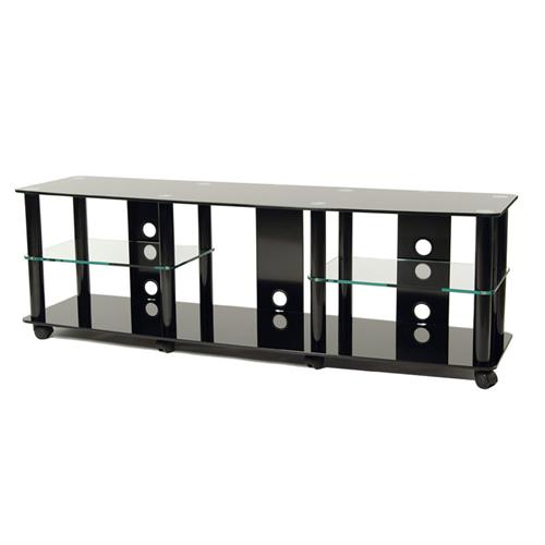 View a large image of the TransDeco Black Glass and Metal TV Stand for up to 70in Flat Screens TD208B here.