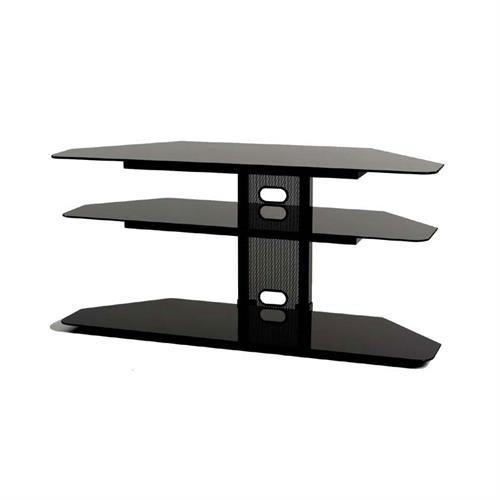 View a large image of the TransDeco Black Glass Corner TV Stand for 32-52 inch Screens Black TD520CB here.