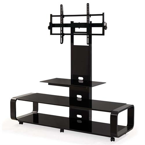 View a large image of the TransDeco Curved TV Stand with Universal Mounting System Black TD685B here.