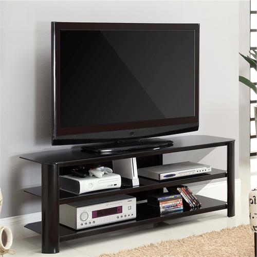 View a larger image of the Living Essentials Oakland 60 in. TV Stand (Black Glass) TFGBK0158 here.
