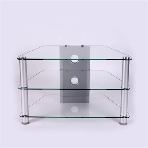 View a large image of the RTA Glass Corner TV Stand for 20-32 inch Screens Silver TVM-021 here.
