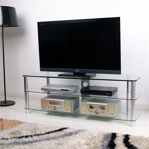 View a large image of the RTA Large 3-Shelf Silver and Glass TV Stand for 36-60 inch Screens TVM-060 here.