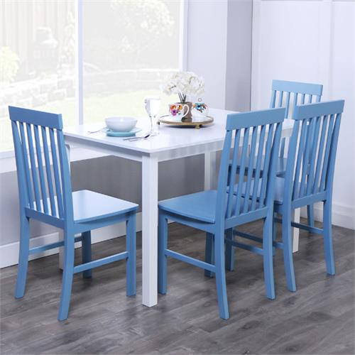 View a large image of the Walker Edison Greyson 5 Piece Wood Dining Set White and Blue TW485PCPB here.