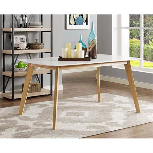 View a large image of the Walker Edison Retro Modern Wood Dining Table White and Natural Brown TW60RMWNL here.