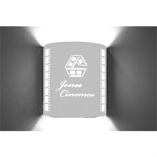 View a large image of the Image Improved Wall Sconce (Custom Theater, Cursive, Stainless) TheatricalSconces010 here.