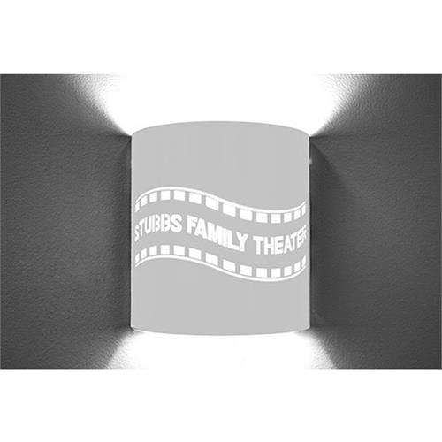 View a large image of the Image Improved Wall Sconce (Custom Filmstrip, Stainless Steel) TheatricalSconces014 here.