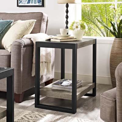 View a larger image of the Walker Edison Urban Blend Side Table (Driftwood and Black) W24UBSTAG.
