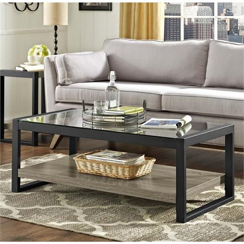View a large image of the Walker Edison Urban Blend Coffee Table with Glass Top Driftwood and Black W48UBGLAG here.