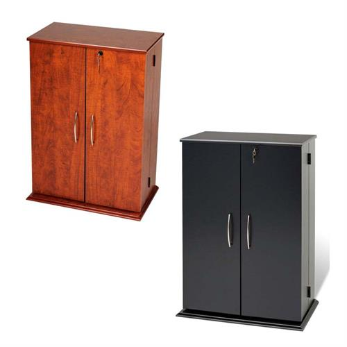 View a large image of the Prepac Small Deluxe CD DVD VHS Cabinet VS-0136 Black or Cherry here.