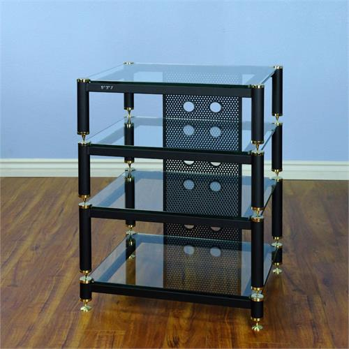 View a large image of the VTI AV Rack Gold Caps Black Poles & Clear Glass BLG404GW-13 here.