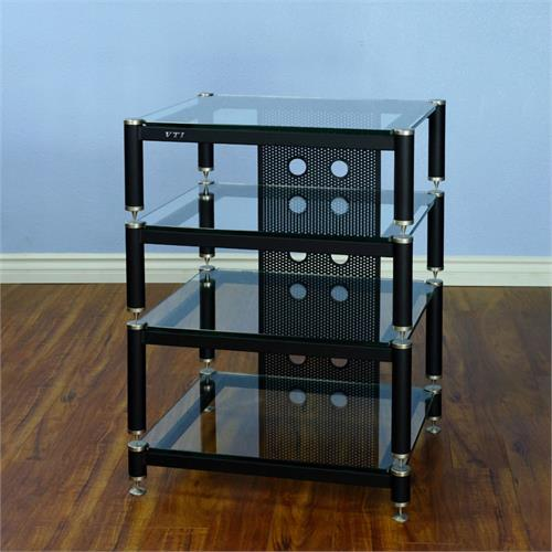 View a large image of the VTI AV Rack Silver Caps Black Poles & Clear Glass BLG404SW-13 here.