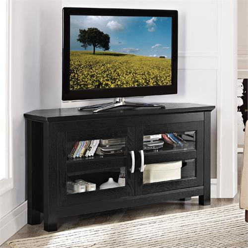 View a large image of the Walker Edison Castillo Series 47 inch Corner TV Console Black W44CCRBL here.