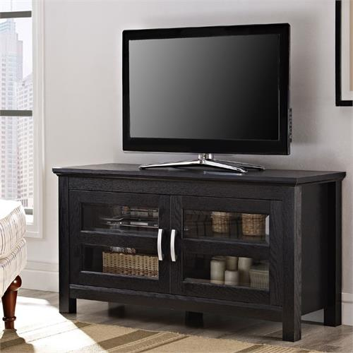 View a large image of the Walker Edison Columbus Series Wood TV Console for up to 52 Flat Panels Black W44CFDBL here.