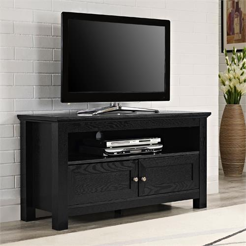 View a large image of the Walker Edison Cortez 44 in. TV Console with Media Storage Black W44CSBL here.