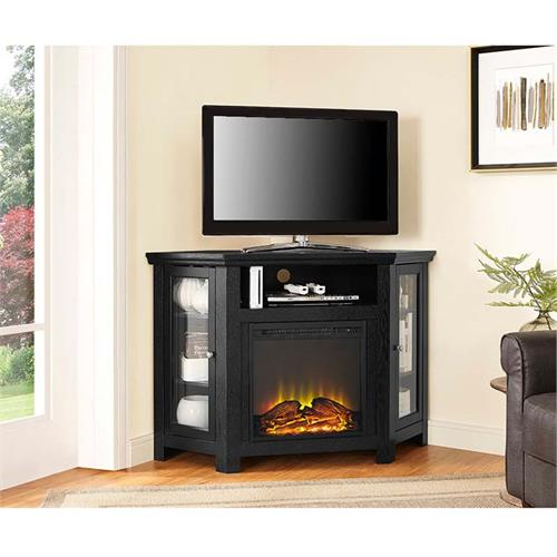 View a large image of the Walker Edison Corner Fireplace TV Stand for 50 inch Screens Black W48FPCRBL here.