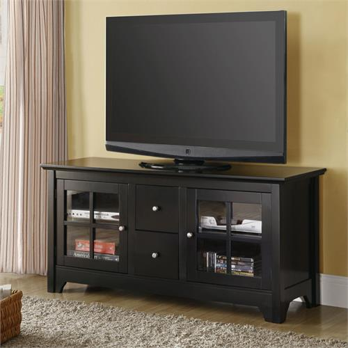 View a larger image of the Walker Edison 52 Wood TV Console with 2 Drawers - Matte Black W52C2DWBL.