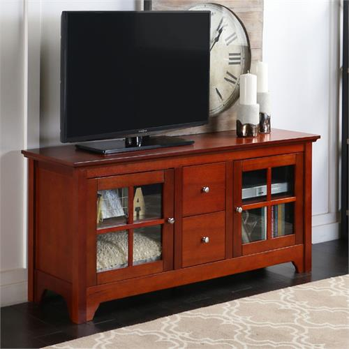 View a large image of the Walker Edison Solid Wood TV Console for up to 55 Flat Panels Brown W52C2DWWB here.