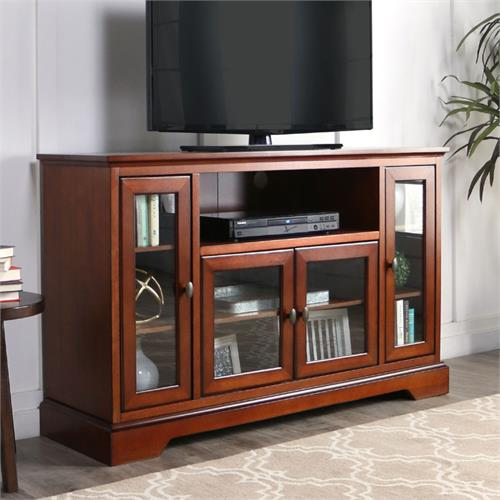 View a large image of the Walker Edison Antique Style Highboy 55 inch TV Cabinet Rustic Brown W52C32RB here.