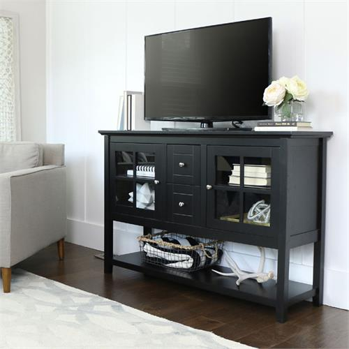 View a large image of the Walker Edison Wood and Glass Highboy Style 55 inch TV Cabinet Black W52C4CTBL here.