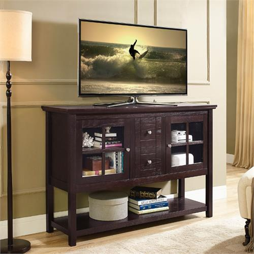 View a large image of the Walker Edison Wood and Glass Highboy Style 55 inch TV Cabinet Espresso W52C4CTES here.