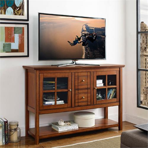 View a large image of the Walker Edison Wood and Glass Highboy Style 55 inch TV Cabinet Rustic Brown W52C4CTRB here.