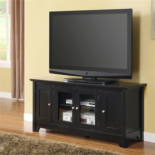 View a large image of the Walker Edison 52 Wood TV Console with 4 Doors - Matte Black W52C4DOBL here.