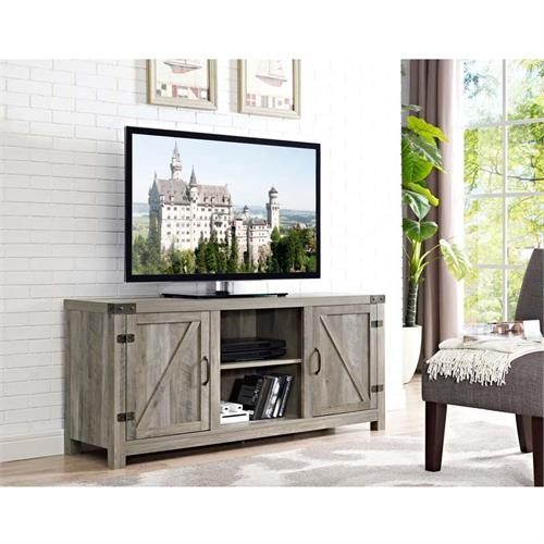 View a larger image of Walker Edison Barn Door TV Stand with Side Doors (Grey Wash) W58BDSDGW.