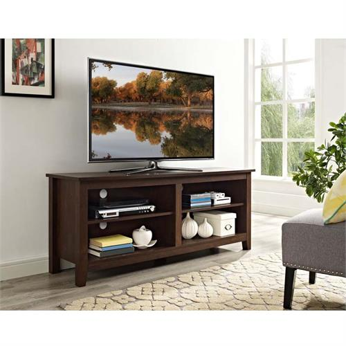 View a large image of the Walker Edison Open Shelf 60 inch TV Stand Traditional Brown W58CSPTB here.