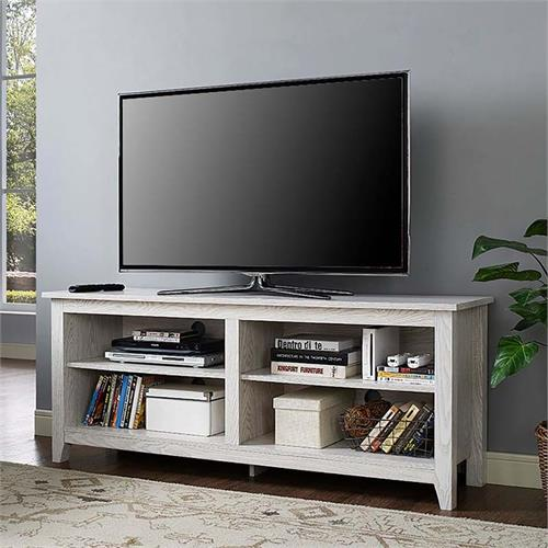 View a larger image of Walker Edison 60 inch TV Stand with Fireplace Insert (White) W58FP18WW.