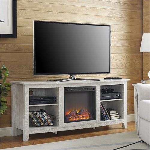 View a larger image of the Walker Edison 60 inch TV Stand with Fireplace Insert (White) W58FP18WW here.