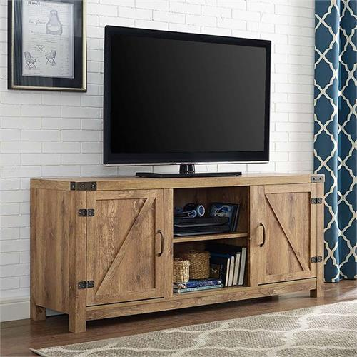 View a large image of the Walker Edison Barn Door TV Stand with Side Doors Barnwood W58BDSDBW here.