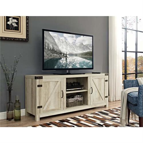 View a large image of the Walker Edison Barn Door TV Stand with Side Doors White Oak W58BDSDWO here.
