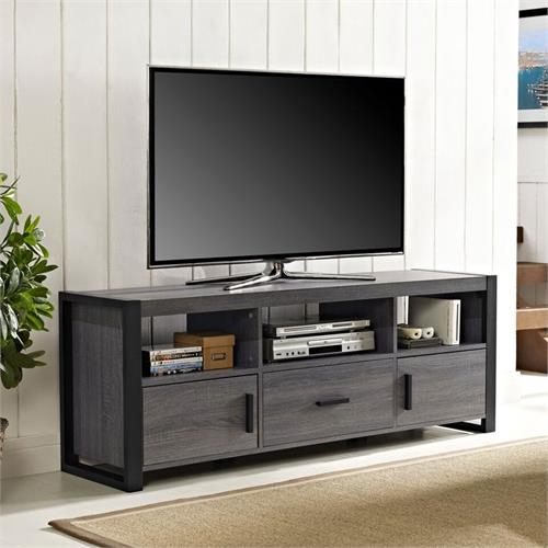 View a large image of the Walker Edison Angelo Home City Grove 65 in TV Stand Charcoal W60CGS1CL here.