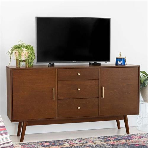 View a larger image of Walker Edison Mid Century Modern 60 inch TV Stand (Walnut) W60CMCWT.