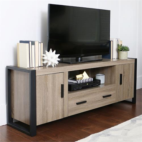 View a large image of the Walker Edison Urban Blend 65 inch TV Console Ash Gray and Black W60UBC22AG here.