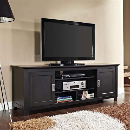 View a large image of the Walker Edison Solid Wood 70 inch TV Stand with Sliding Doors Black W70C25SDBL here.