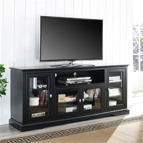 View a large image of the Walker Edison 70 inch Highboy TV Stand Black W70C32BL here.