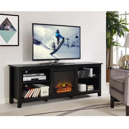 View a large image of the Walker Edison 70 inch TV Stand with Electric Fireplace Black W70FP18BL here.