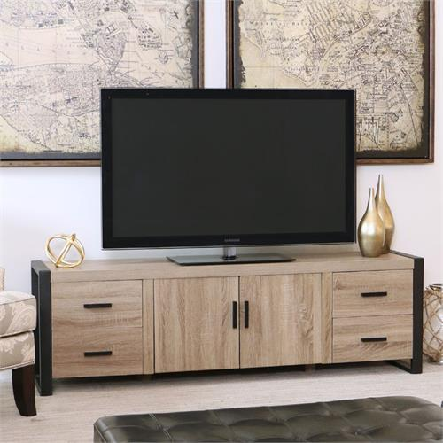 View a large image of the Walker Edison Urban Blend 70 inch TV Console Ash Gray and Black W70UBC22AG here.