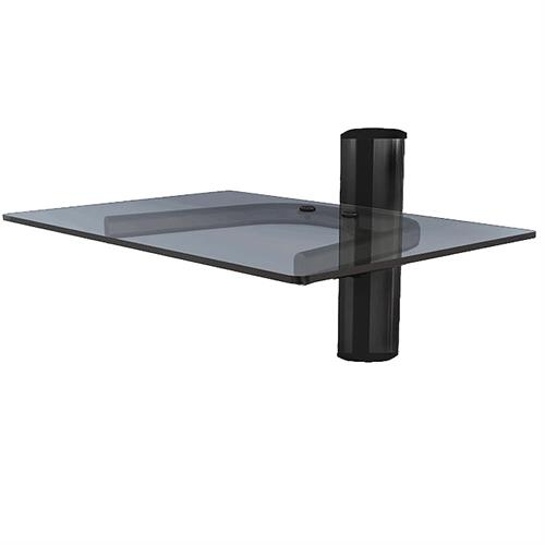 View a large image of the Crimson Single Shelf Component Wall System Black with Black Glass WA1 here.
