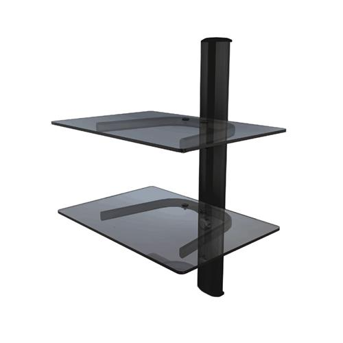 View a large image of the Crimson Dual Shelf Component Wall System Black with Black Glass WA2 here.