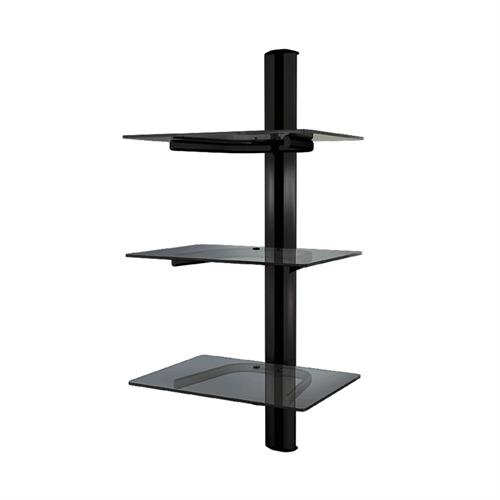 View a large image of the Crimson Triple Shelf Component Wall System Black with Black Glass WA3 here.