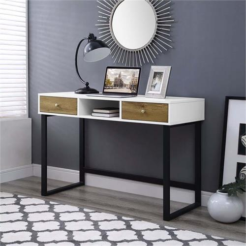 View a large image of the Walker Edison Urban Industrial Desk with Drawers Two-Tone Finish DW44JUNWBW here.