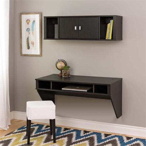 View a large image of the Prepac Designer Wall Mounted Floating Desk and Hutch Set Black HRHW-0501-2M here.