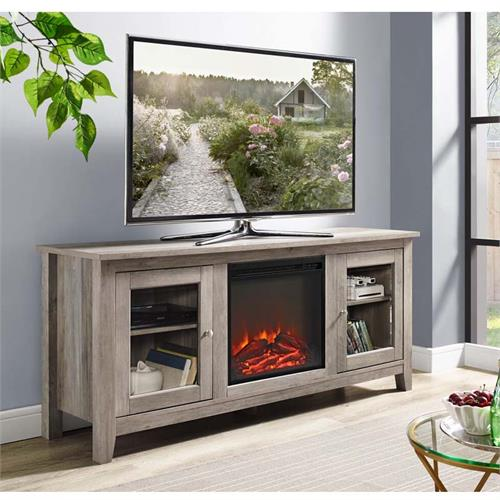 View a large image of the Walker Edison Media TV Stand with Electric Fireplace Grey W58FP4DWGW here.