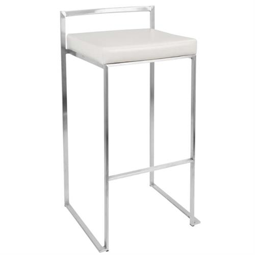 View a large image of the LumiSource Fuji Stacking Bar Stools White Pair of 2 BS-FUJI W2 here.