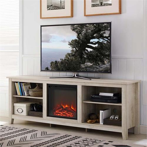View a large image of the Walker Edison 70 inch TV Stand with Electric Fireplace White Oak W70FP18WO here.