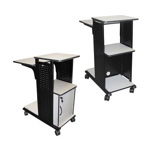 View a large image of the H. Wilson 4-Shelf Mobile Presentation Cart Gray and Black WPS4 here.