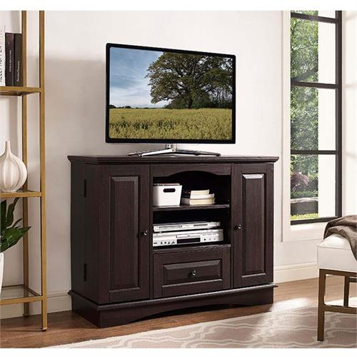 View a large image of the Walker Edison Highboy 48 in. TV Stand with Storage Espresso WQ42BC3ES here.