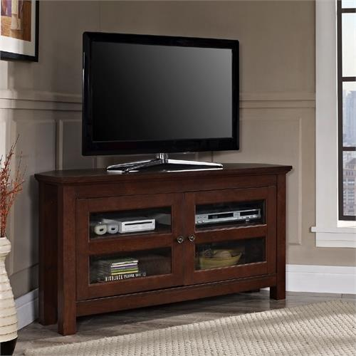 View a large image of the Walker Edison Walker Edison 48 inch Corner TV Console Traditional Brown WQ44CCRTB here.